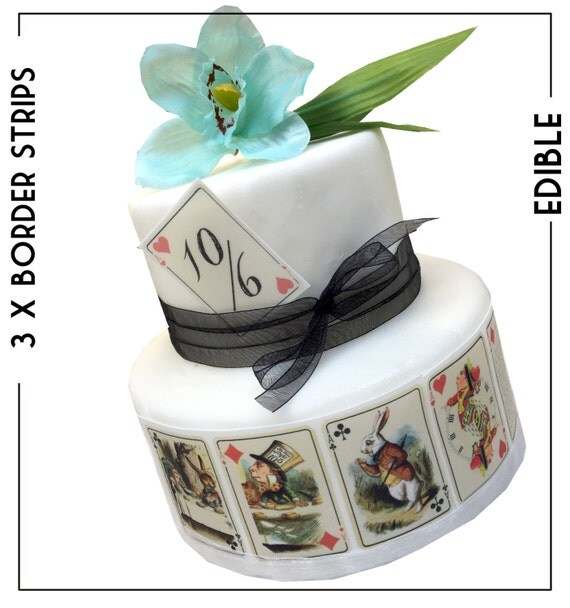 Mad Hatter Tea Party Alice in Wonderland EDIBLE PLAYING CARDS