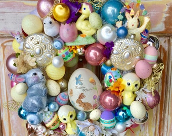 SALE  Easter ornament wreath; Vintage Ornament wreath, Bunny wreath; Duck and Egg Wreath; Upcycled ornament wreath; FREE gift included