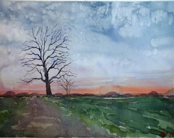Winter sunset tree original watercolor, original landscape, countryside landscape, green art, blue art, sunset painting, tree painting,