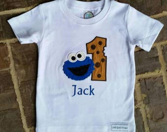 Boy's Cookie Monster shirt with embroidered name and birthday number