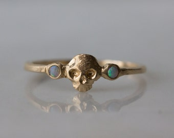 Petite Memento Mori Stacking band in 14k yellow gold with white opals / Skull Ring / October Birthstone ring /