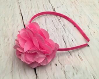 Pink Flower Headband, Satin Mesh Flower, Hard Headband, Girl Headband, Baby Headband, Hair Accessories, Photo Prop
