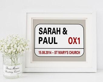 Personalised wedding gift - london street sign- personalised street sign print- customised wedding print - location print - anniversary gift