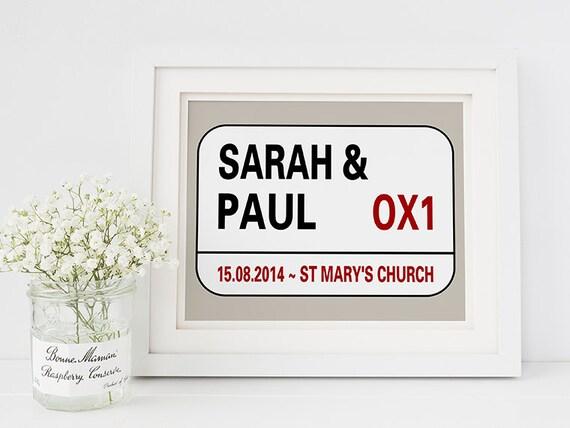 Personalised wedding gift - london street sign- personalised street ...