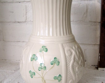 "Belleek Vase, 10"" tall Shamrock and Woven Pattern Cream Porcelain , Belleek, Ireland"
