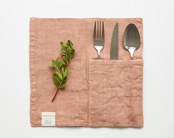 Set of 2 Café Crème Linen Cutlery Pockets