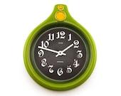 Retro Green earthenware / ceramic wall clock. By Anker, Germany, Retro homeware, hanging clock