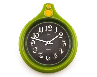 Retro Green earthenware / ceramic wall clock. By Anker, Germany, Retro homeware, hanging clock
