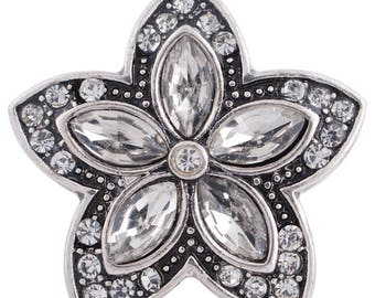 CZ 5  Marquis Stone Flower - Snap It SKC6285  Popper Chunk Snap Button Interchangeable 18mm 20mm snap