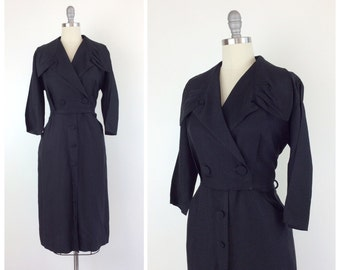 50s Long Sleeve Black Dress / 1950s Vintage Button LBD Dress / Large / Size 12