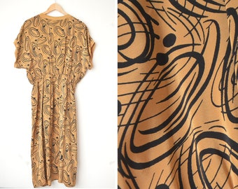 vintage brown abstract graphic print long dress 70s // M-L