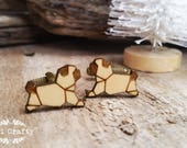 Geometric Pug Wooden Cufflinks Origami Cuff links Dad Grooms Best man Groomsman Rustic Wedding Birthday Gift