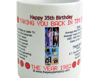 Pre-Made 1982 Birthday Message Mug - Happy 35th Birthday