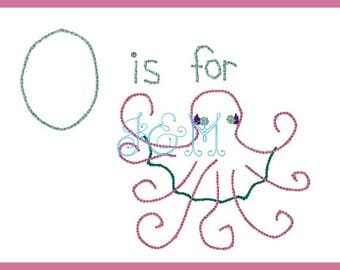 O is for Octopus (girly)  VIntage Style Alphabet EMbroidery Design