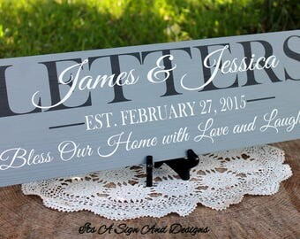 Bless Our Home, Home Sweet Home, Last Name Sign, Bless Our Home Sign, Family Sign, New Home Gift, New Home Sign, Home Established Sign, Love