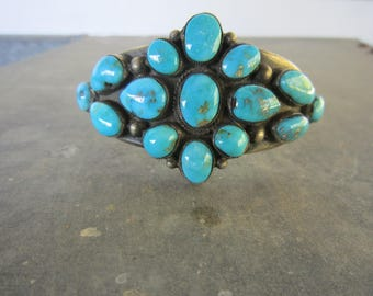Calvin Martinez, Navajo, Cuff Bracelet Morenci Turquoise and Sterling