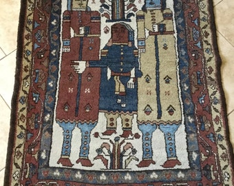 Unusual Antique Wool Rug Carpet, Tribal, 5' by 3.5'