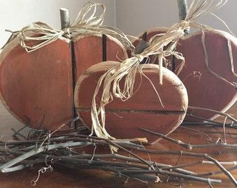 Rustic Wood Pumpkin//Clearance//Rustic Fall Decor//Handmade Pumpkin Decor//Handpainted Wooden Pumpkin//Orange Pumpkins//READY TO SHIP