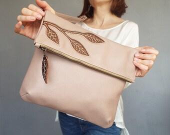 Beige leather crossbody bag. Foldover cross body bag. Nude/ copper leather purse.