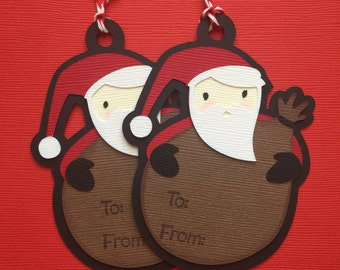 Set of Christmas Tags, Paper Piecing, Die Cut, PreMade Bazzill Paper, Santa