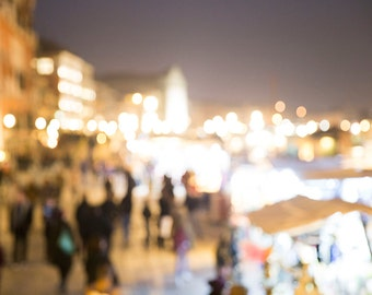 Venice, Italy, Bokeh lighting along the Canal, Travel Photography