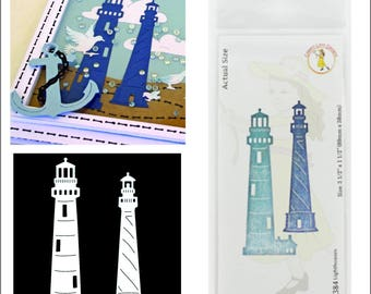 Lighthouses metal die - Cheery Lynn Designs cutting dies B384 for card making scrapbooking use in Cuttlebug,Big Shot,more