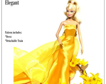 Pixie Faire Karen Lorraine Design Elegant Doll Clothes Pattern for 11-1/2 inch Fashion Dolls - PDF