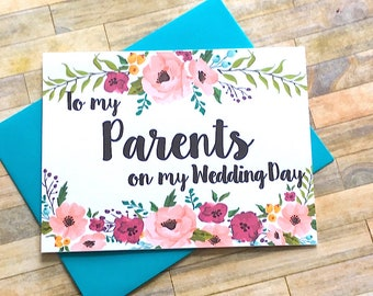 To My Parents on My Wedding Day, Thank You Mom and Dad Card, Parents, Mom and Dad Card, Wedding, Thank You Mom and Dad - MULBERRY