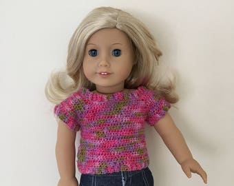 18 inch doll sweater fits dolls such as American Girl. Handmade crochet pink top