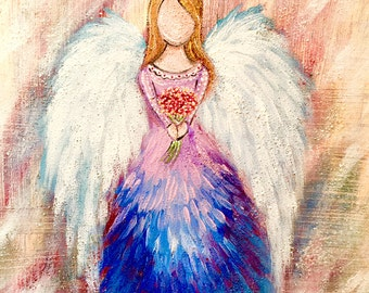 Hand Painted Angel Acrylic/Oil on Canvas, comes ready to hang, personalized angel, commission angel painting, angel art