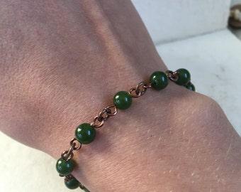 Canadian Jade Wire Wrap Linked Bracelet in Antique Copper -B17