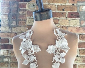 White Applique Venise Lace for Bridal, Lolita, Sweaters, Lace Necklaces, Costumes