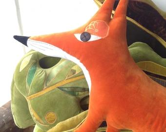 Muma Fox cushion /pillow , animal shaped cushion /pillow hand made in Brighton .