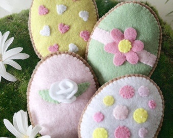 Felt Easter Egg Sugar Cookies, Sweet Treats Play Food - Set of 4  Soft Felt Biscuits, Pink, Lemon, Mint, Vanilla Icing, Iced Biscuits