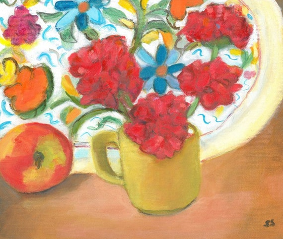still life apples, flower painting, fruit still life, oil on canvas, kitchen decor, original oil painting, red decor , apple art,