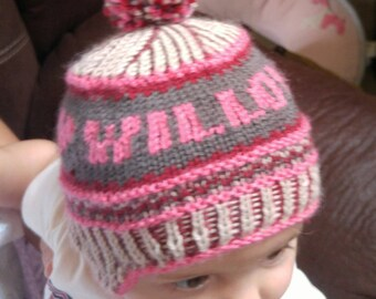 Hand-knit baby/child's hat personalized with name   custom baby hat   knit child's hat with name   earflap hat for child/baby   custom hat