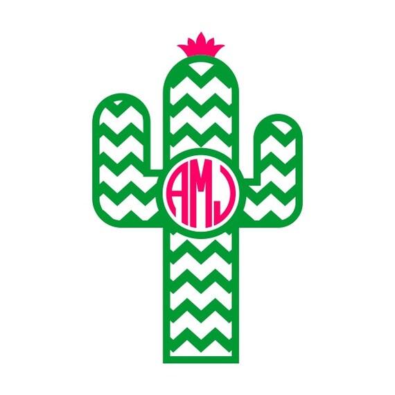 Cactus Monogram Neon Green Decal Yeti on Indoor Outdoor House Sketch