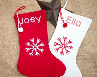 Personalized Red & White Christmas Stockings