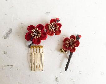 Set of Tsumami kanzashi and brooch japanese hair comb and brooch KCnB001