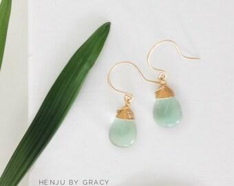 Fluorite Drop Earrings / Fluorite Earrings/ Wire Wrapped Blue Fluorite Earrings/ Bridesmaid Earrings/ Gemstone Earrings/Gold Filled Earrings