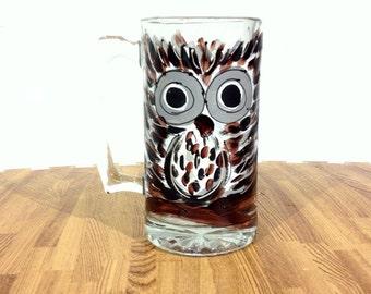 Owl Beer Mug | Hand Painted Glass Mug | Owl Beer Stein