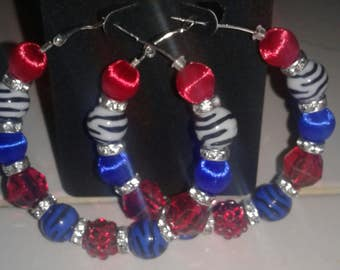 Love and hip hop and Basketball wives inspired 60mm hoop with blue, red and white  leopard print beads