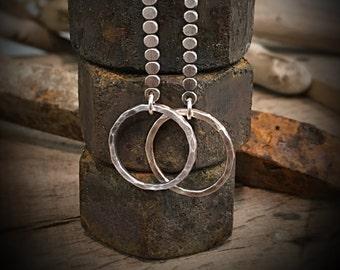 Sterling Silver industrial hoop earrings dangle drop - Classic Minimalist jewelry drop funky unique