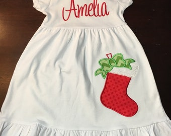 Personalized Christmas Stocking Dress with Name or Monogram