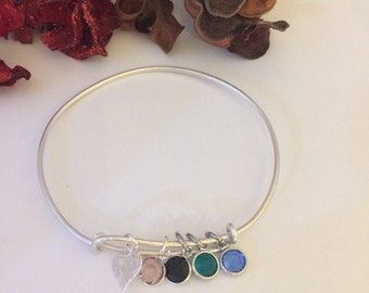 Silver Hand Stamped Initial & Birthstone Family Bangle