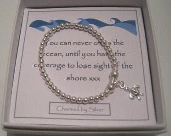 Sterling Silver Turtle Charm Stretch Bead Bracelet - You can never cross the ocean until you have courage to lose sight of the shore