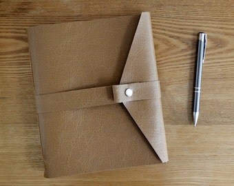 Lined Paper Journal Handsewn Vegan Leather in Light Brown