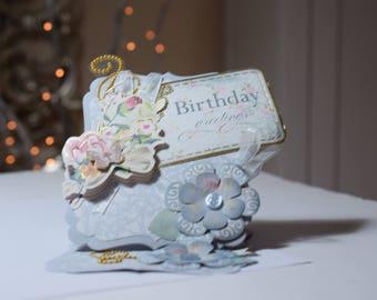 Handmade birthday Card, Birthday Greetings, Easel Card, 3D Card, Special Card, Vintage Style Card