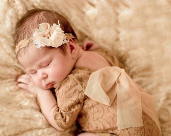 Newborn photo outfit girl lace romper bracelet headband set, newborn nude baby open back long sleeve romper props newborn photography