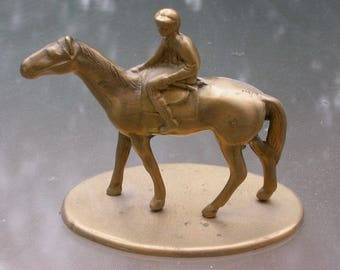 French vintage  solid brass horse Jocky sculpture  animal havey brass sculpture with wooden base gold patina horse head  horse